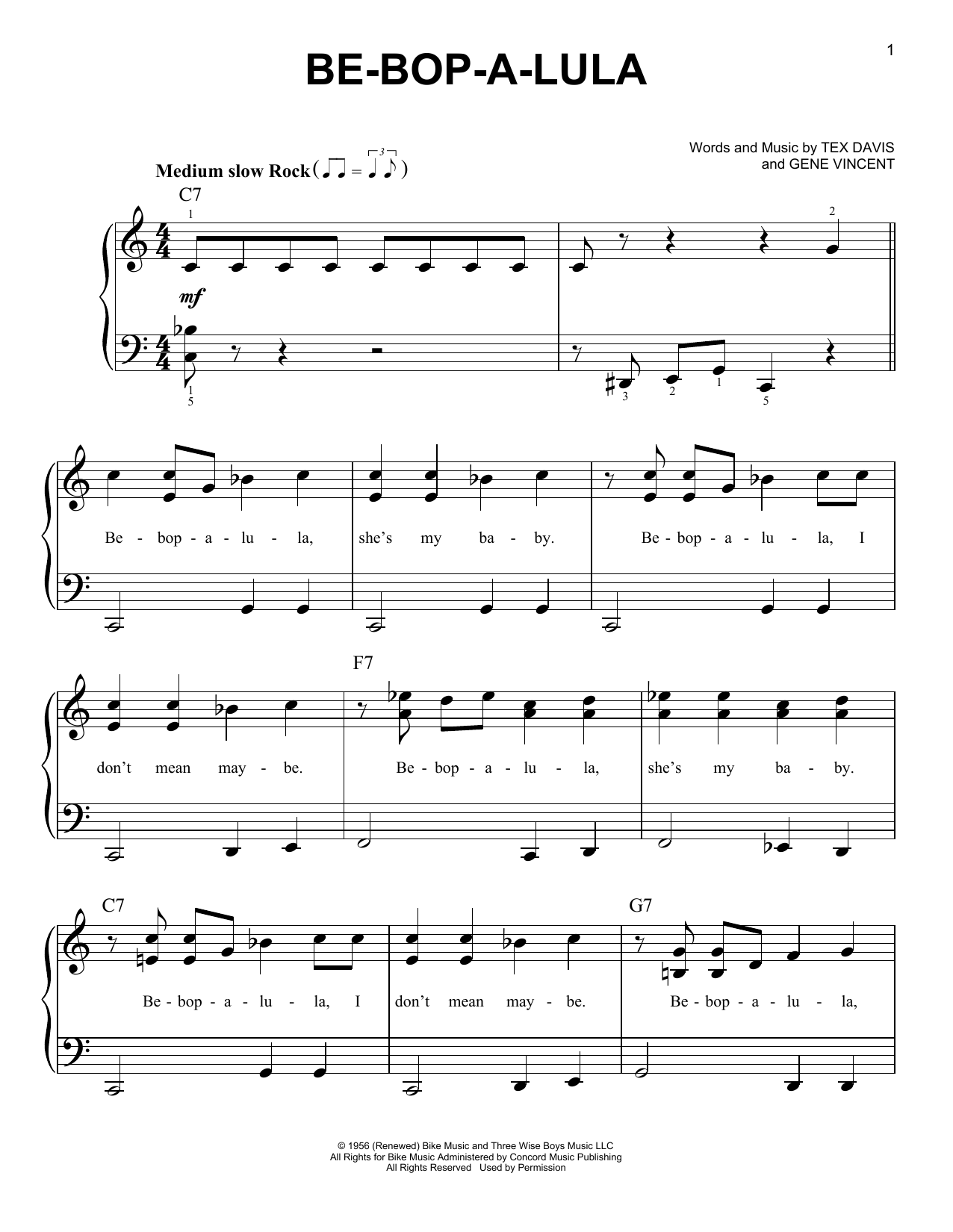 Gene Vincent Be-Bop-A-Lula sheet music preview music notes and score for Guitar Tab including 7 page(s)