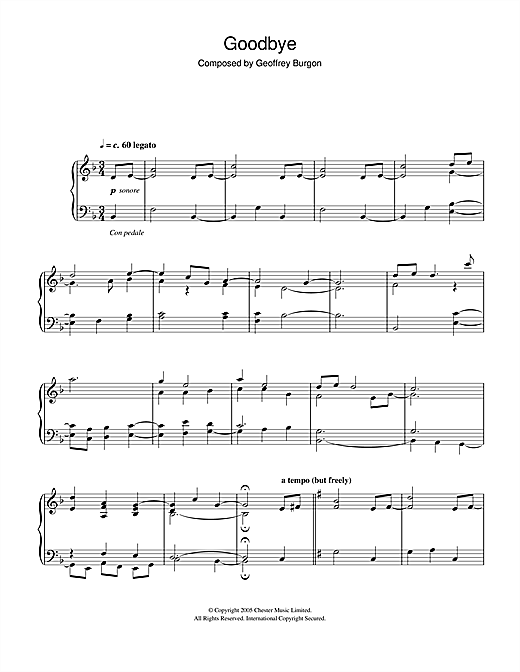 Download Geoffrey Burgon 'Goodbye' Digital Sheet Music Notes & Chords and start playing in minutes