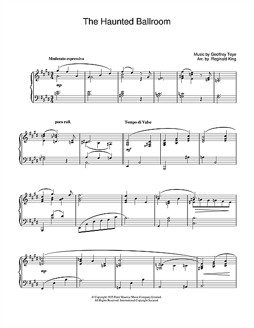 Download Geoffrey Toye 'Haunted Ballroom' Digital Sheet Music Notes & Chords and start playing in minutes