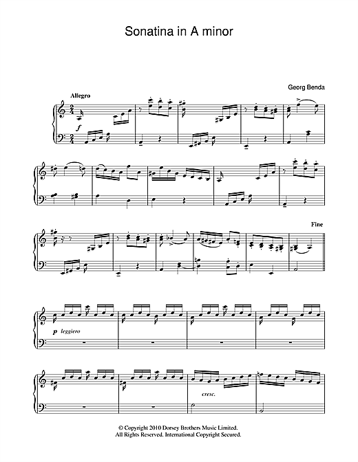 Download Georg Benda 'Sonatina In A Minor' Digital Sheet Music Notes & Chords and start playing in minutes