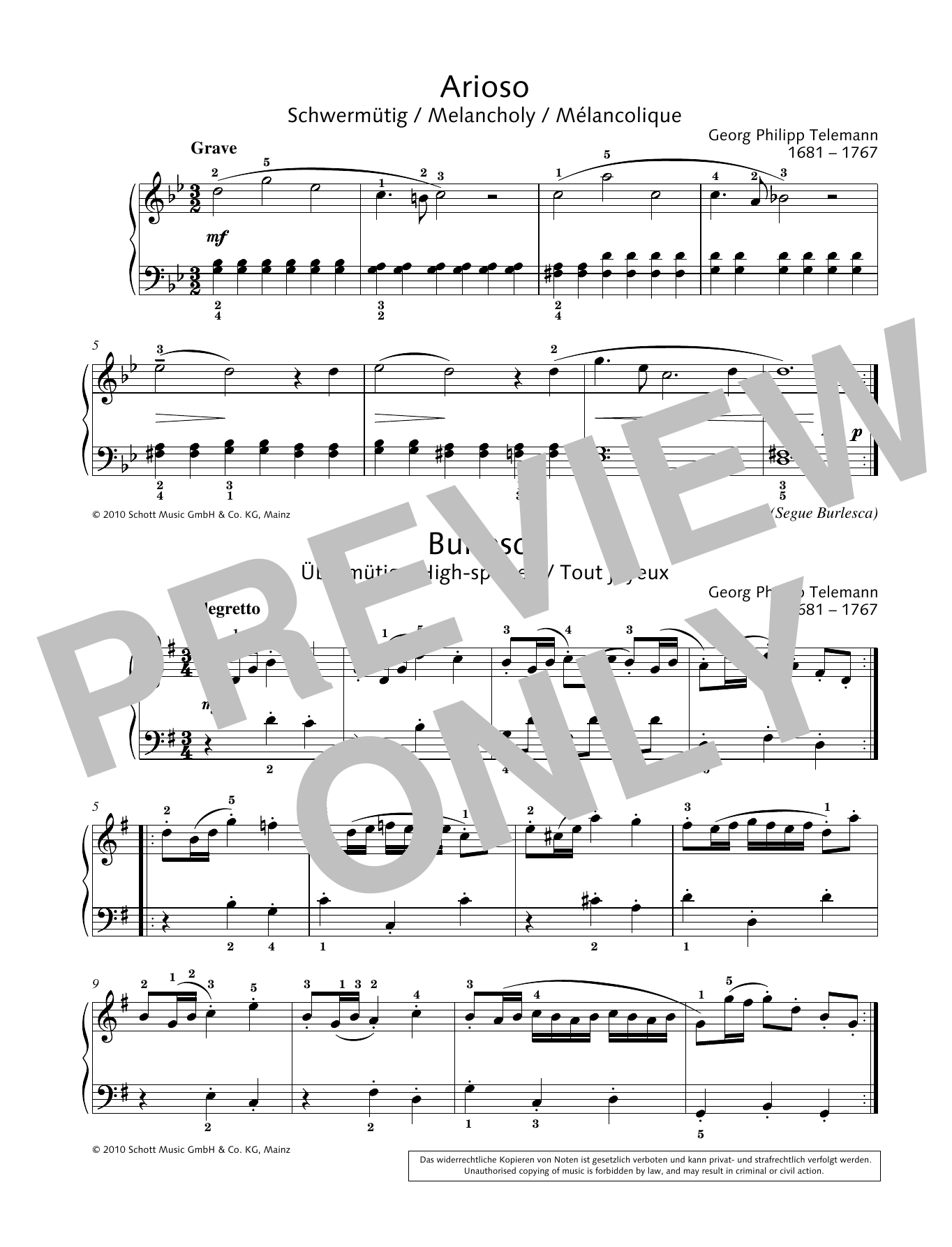 Georg Philipp Telemann Arioso-Burlesca sheet music preview music notes and score for Piano Solo including 1 page(s)