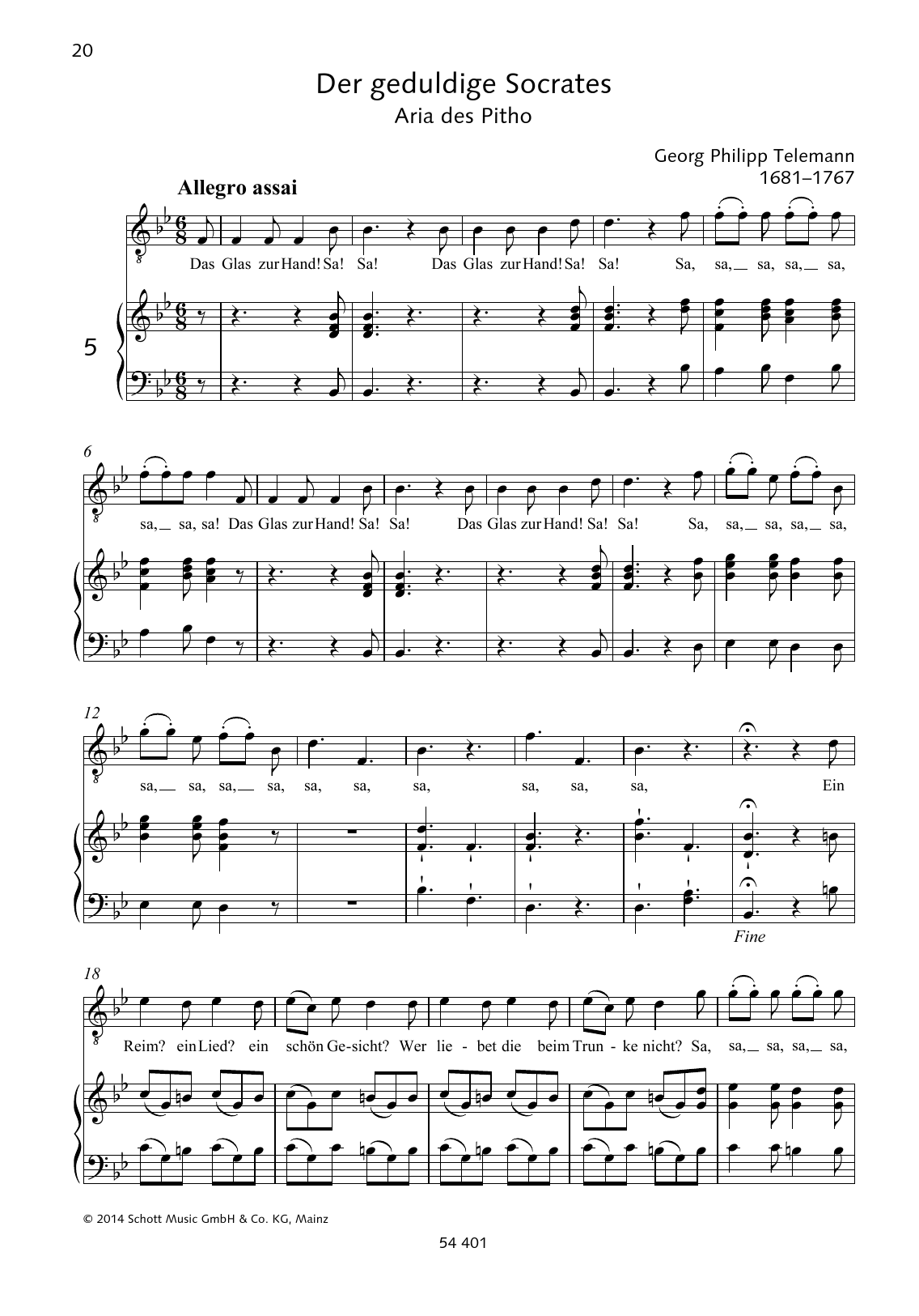 Georg Philipp Telemann Das Glas zur Hand sheet music preview music notes and score for Piano & Vocal including 2 page(s)