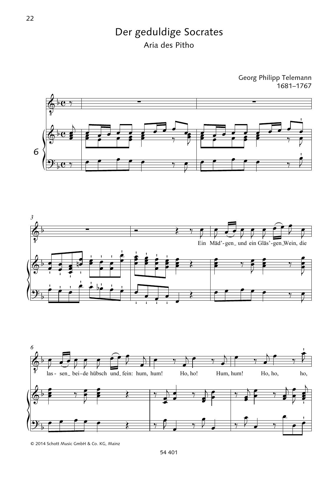 Georg Philipp Telemann Ein Mäd'gen und ein Gläs'gen Wein sheet music preview music notes and score for Piano & Vocal including 2 page(s)