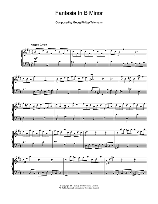 Download Georg Philipp Telemann 'Fantasia In B Minor' Digital Sheet Music Notes & Chords and start playing in minutes