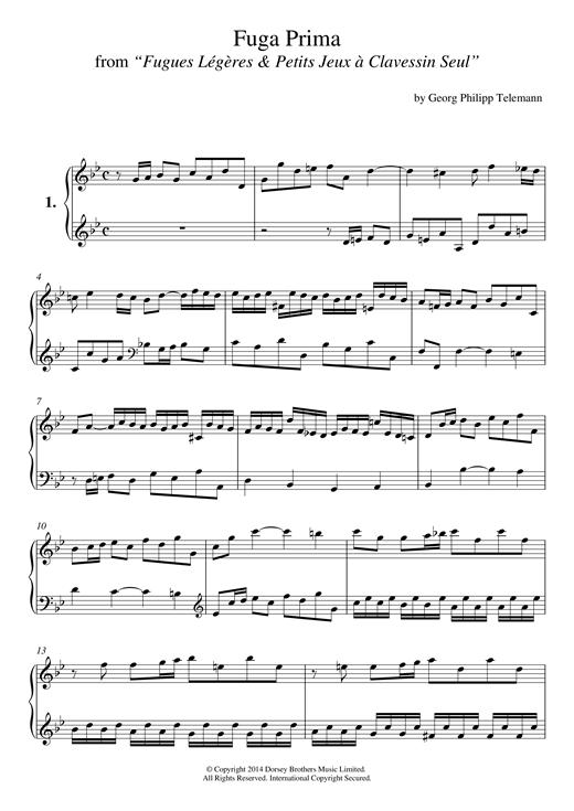 Download Georg Philipp Telemann 'Fuga Prima From