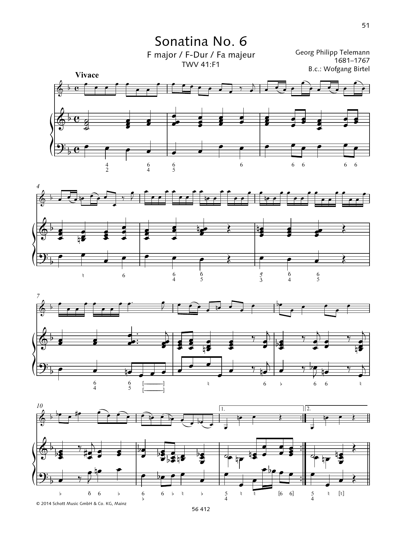 Georg Philipp Telemann Sonatina No. 6 F major sheet music preview music notes and score for String Solo including 6 page(s)