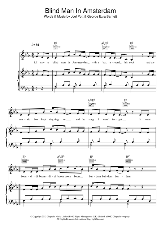 Download George Ezra 'Blind Man In Amsterdam' Digital Sheet Music Notes & Chords and start playing in minutes