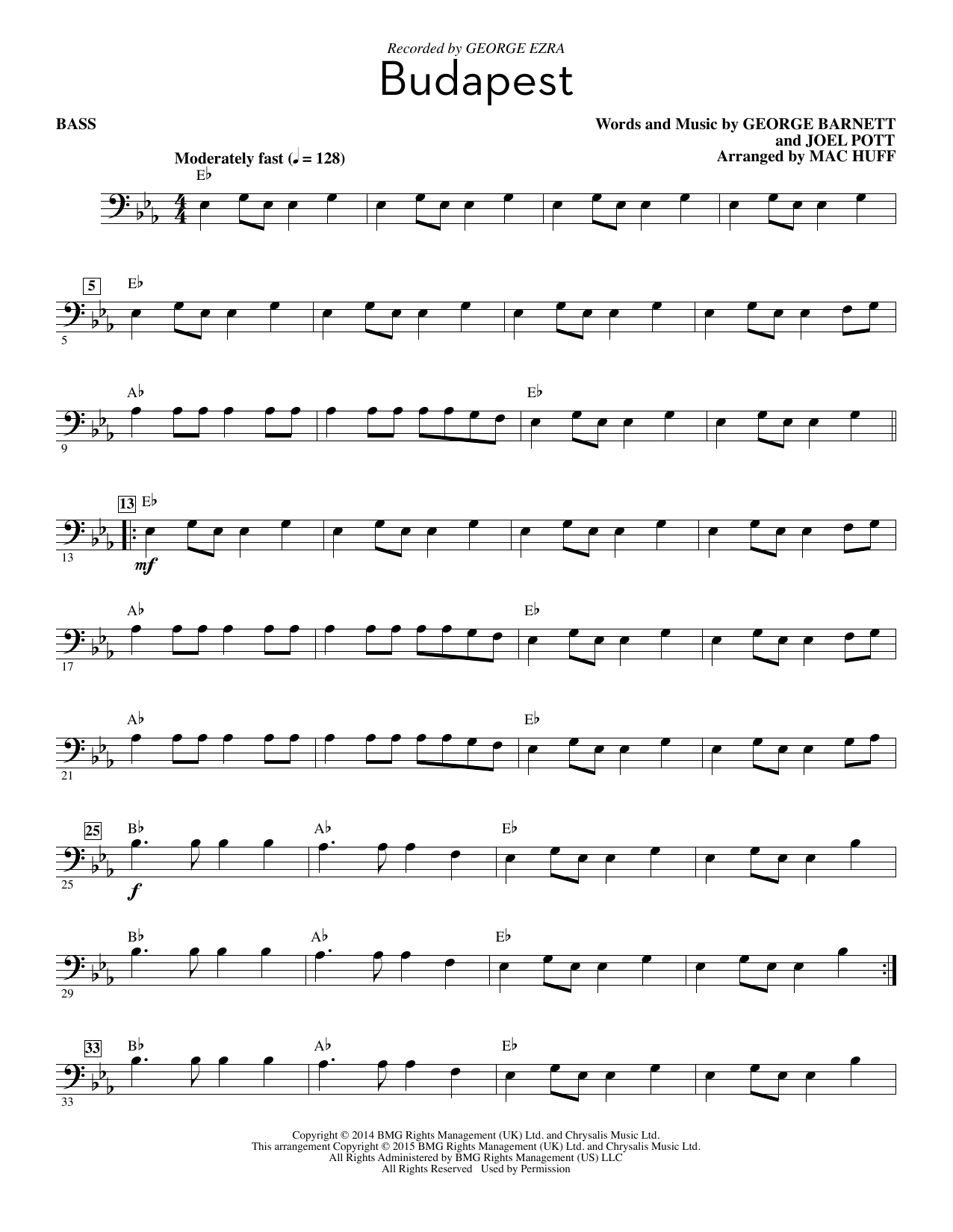 Download George Ezra 'Budapest (arr. Mac Huff) - Bass' Digital Sheet Music Notes & Chords and start playing in minutes
