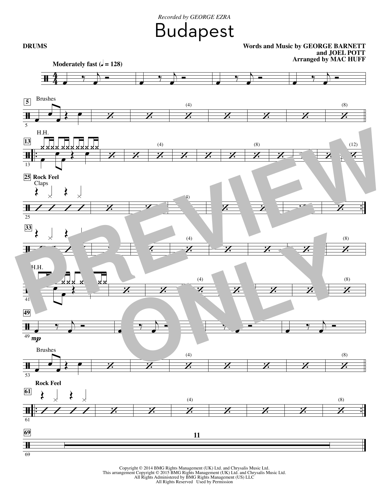 Download George Ezra 'Budapest (arr. Mac Huff) - Drum Set' Digital Sheet Music Notes & Chords and start playing in minutes