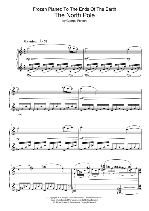 Download George Fenton 'Frozen Planet, The North Pole' Digital Sheet Music Notes & Chords and start playing in minutes