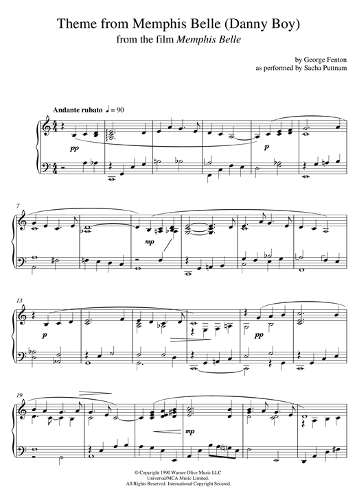 Download George Fenton 'Memphis Belle (Main Title) (as performed by Sacha Puttnam)' Digital Sheet Music Notes & Chords and start playing in minutes