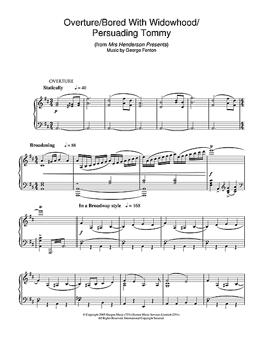Download George Fenton 'Overture/Bored With Widowhood/Persuading Tommy (from Mrs Henderson Presents)' Digital Sheet Music Notes & Chords and start playing in minutes