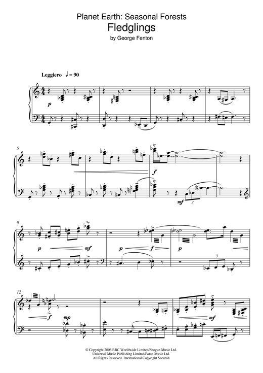 Download George Fenton 'Planet Earth: Fledglings' Digital Sheet Music Notes & Chords and start playing in minutes