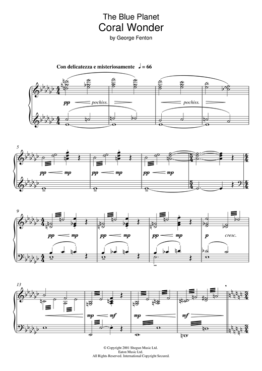 Download George Fenton 'The Blue Planet: Coral Wonder' Digital Sheet Music Notes & Chords and start playing in minutes