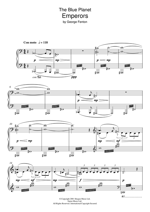 Download George Fenton 'The Blue Planet, Emperors' Digital Sheet Music Notes & Chords and start playing in minutes