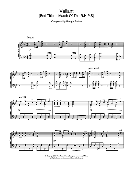 Download George Fenton 'Valiant (End Titles - March Of The R.H.P.S)' Digital Sheet Music Notes & Chords and start playing in minutes