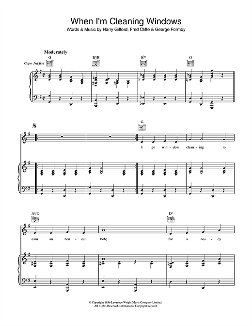 Download George Formby 'When I'm Cleaning Windows' Digital Sheet Music Notes & Chords and start playing in minutes
