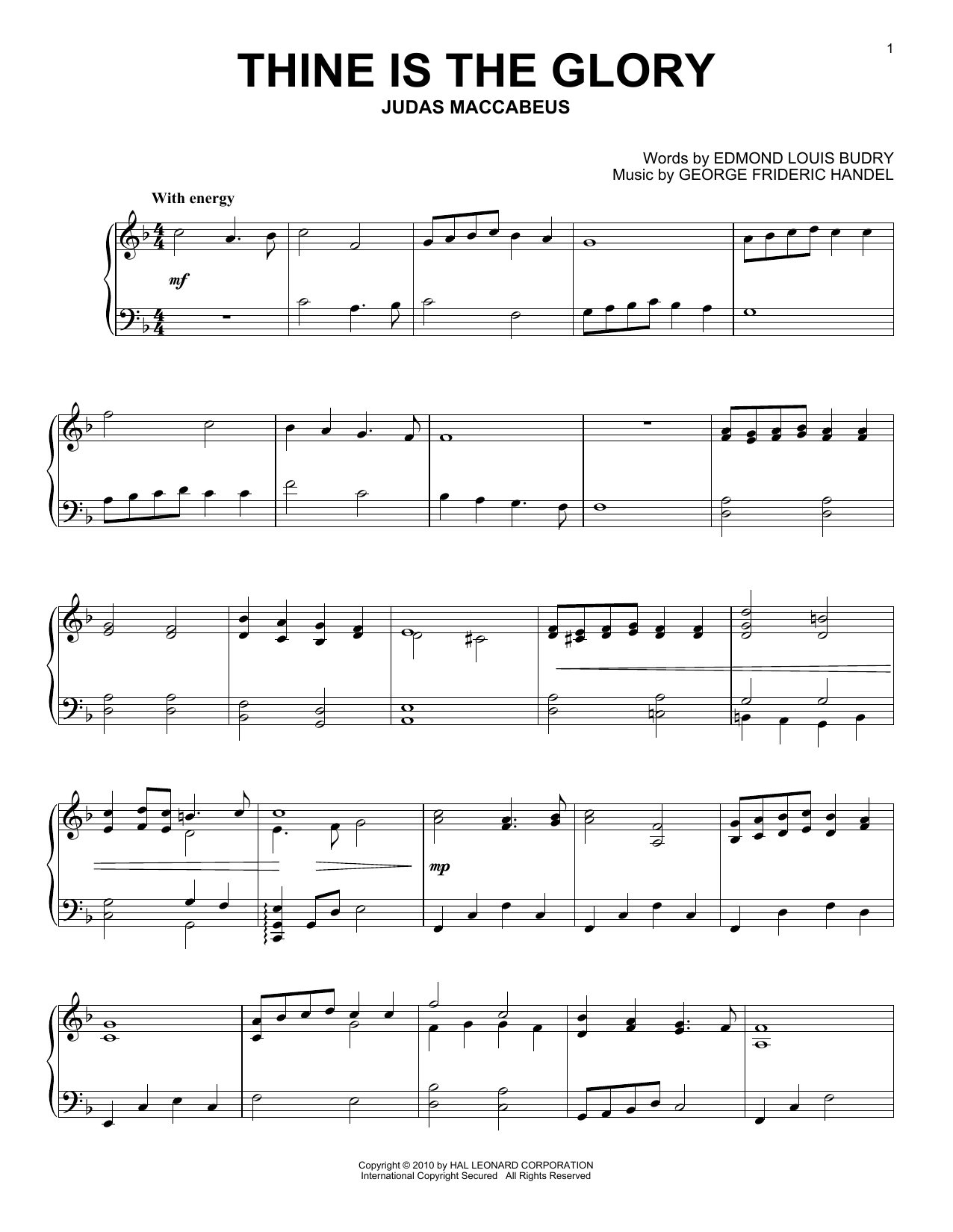 Download George Frideric Handel 'Thine Is The Glory' Digital Sheet Music Notes & Chords and start playing in minutes