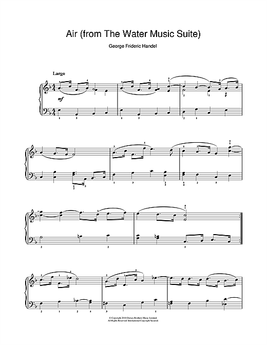 George Frideric Handel Air (from The Water Music Suite) sheet music preview music notes and score for Piano including 3 page(s)