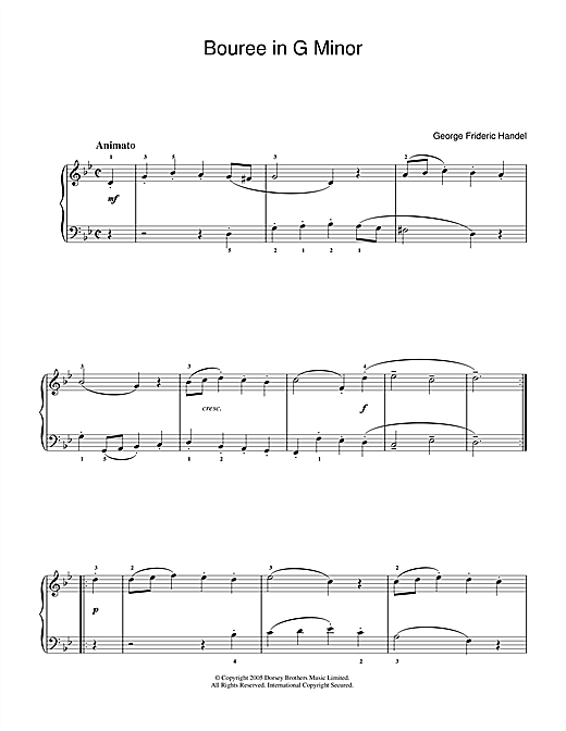 Download George Frideric Handel 'Bouree In G Minor' Digital Sheet Music Notes & Chords and start playing in minutes