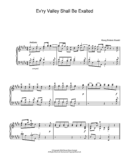 Download George Frideric Handel 'Ev'ry Valley Shall Be Exalted' Digital Sheet Music Notes & Chords and start playing in minutes