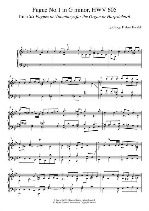 Download George Frideric Handel 'Fugue No.1 In G Minor (From 6 Fugues) HWV 605' Digital Sheet Music Notes & Chords and start playing in minutes