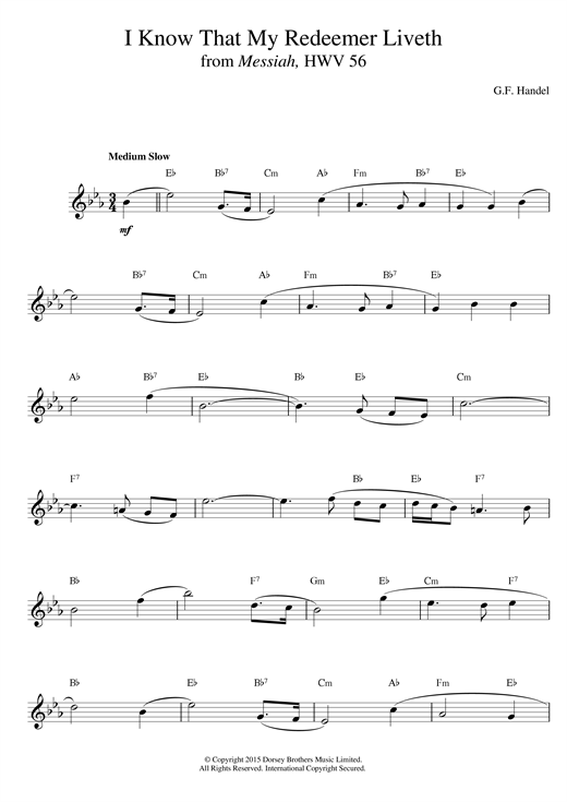 Download George Frideric Handel 'I Know That My Redeemer Liveth (from Messiah)' Digital Sheet Music Notes & Chords and start playing in minutes
