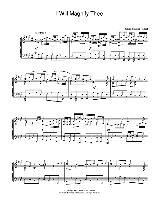 Download George Frideric Handel 'I Will Magnify Thee' Digital Sheet Music Notes & Chords and start playing in minutes