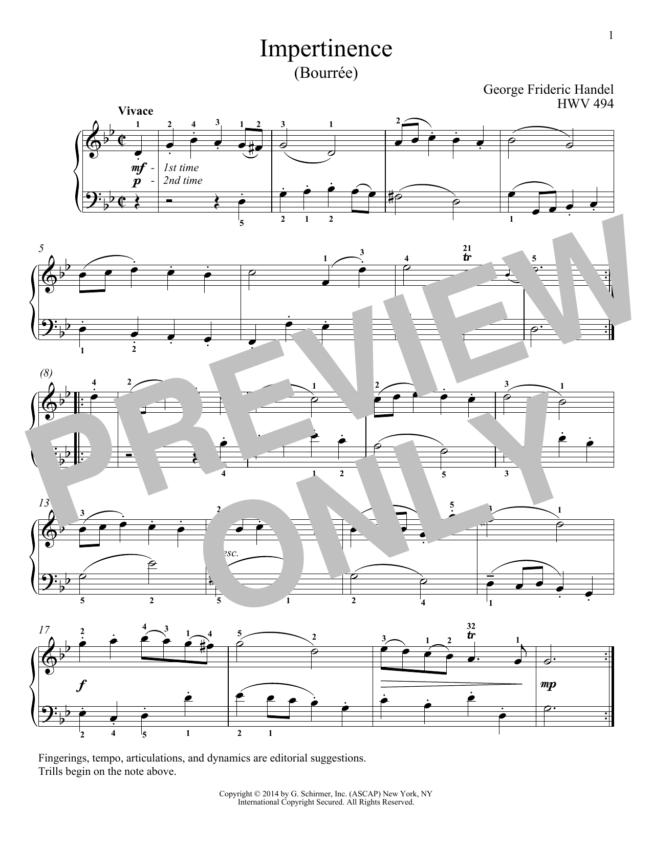 Download George Frideric Handel 'Impertinence, HWV 494' Digital Sheet Music Notes & Chords and start playing in minutes