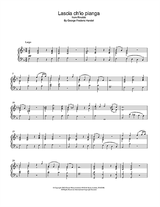 George Frideric Handel Lascia Ch'io Pianga (from Rinaldo) sheet music notes and chords