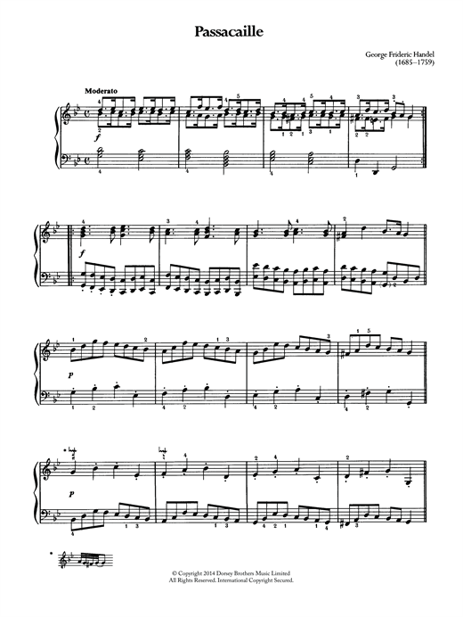 Download George Frideric Handel 'Passacaille' Digital Sheet Music Notes & Chords and start playing in minutes