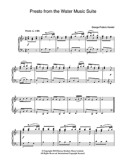 Download George Frideric Handel 'Presto (from The Water Music Suite)' Digital Sheet Music Notes & Chords and start playing in minutes