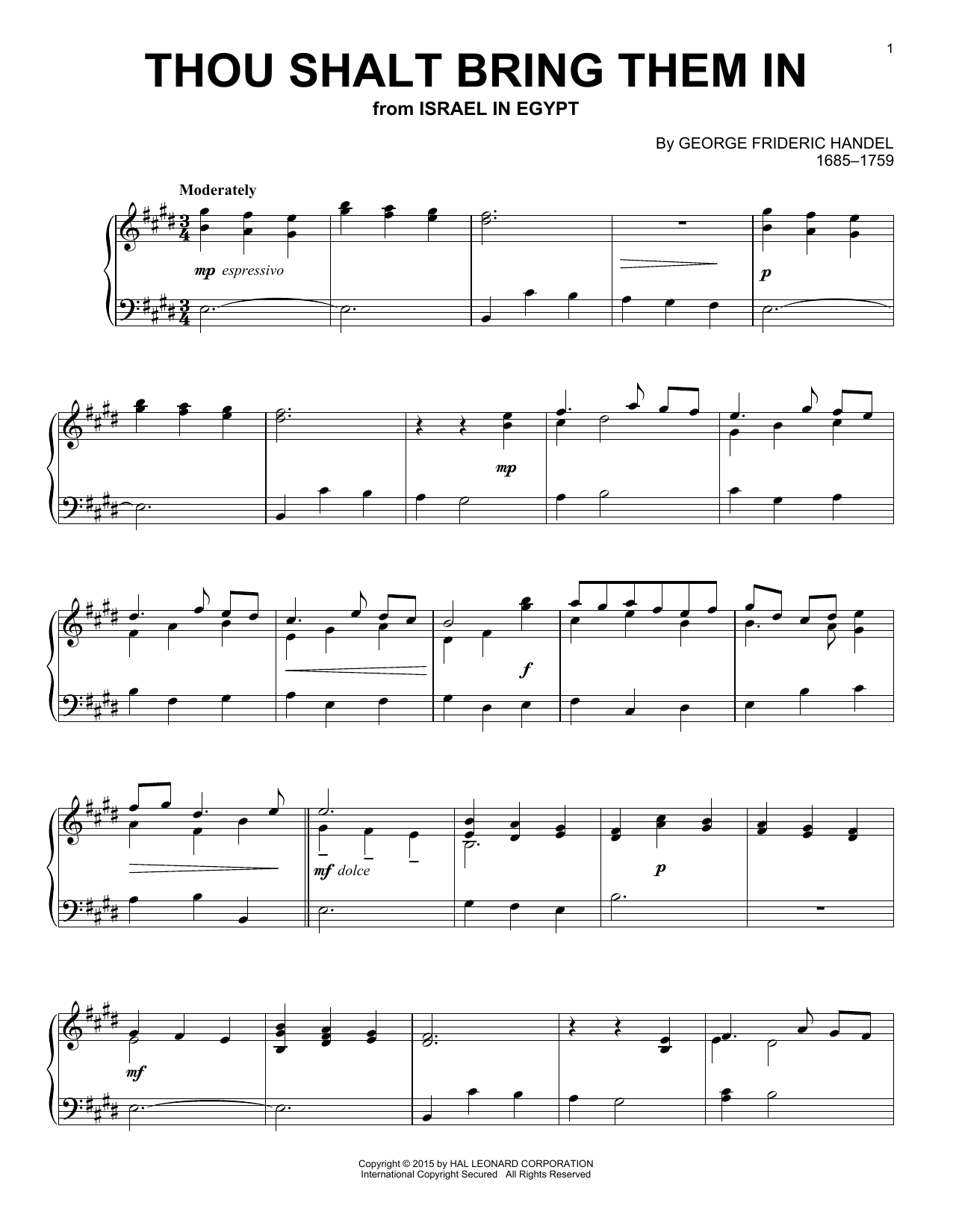 Download George Frideric Handel 'Thou Shalt Bring Them In' Digital Sheet Music Notes & Chords and start playing in minutes