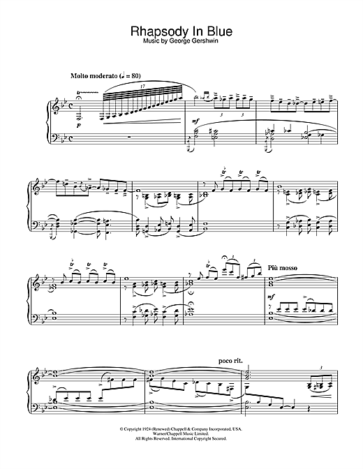 Download George Gershwin 'Rhapsody In Blue' Digital Sheet Music Notes & Chords and start playing in minutes