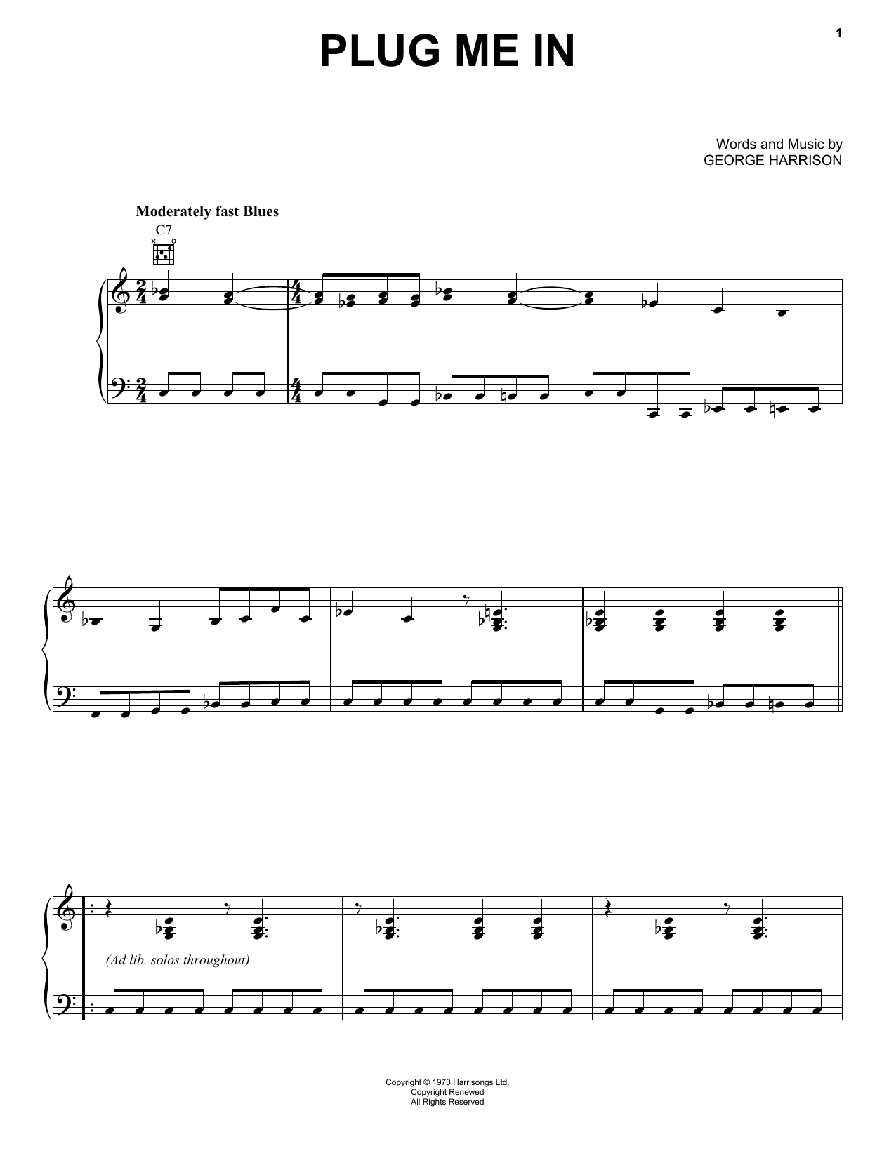 Download George Harrison 'Plug Me In' Digital Sheet Music Notes & Chords and start playing in minutes