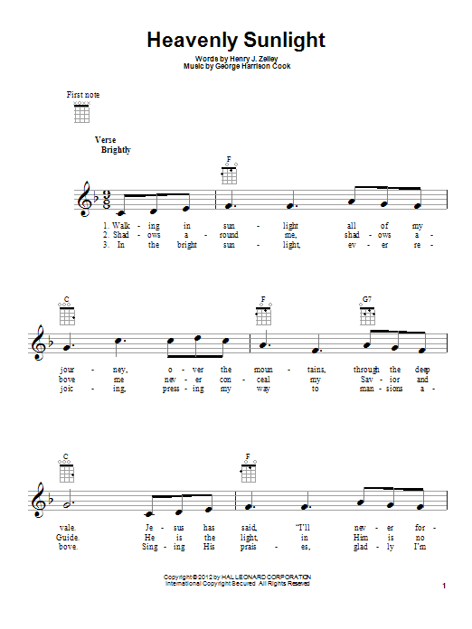 George Harrison Cook Heavenly Sunlight sheet music preview music notes and score for Ukulele including 2 page(s)