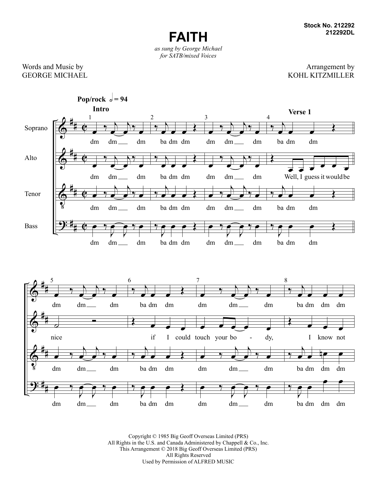 George Michael Faith (arr. Kohl Kitzmiller) sheet music preview music notes and score for SSAA Choir including 11 page(s)