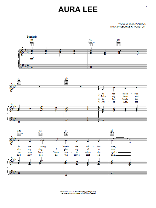 George R. Poulton Aura Lee sheet music notes and chords