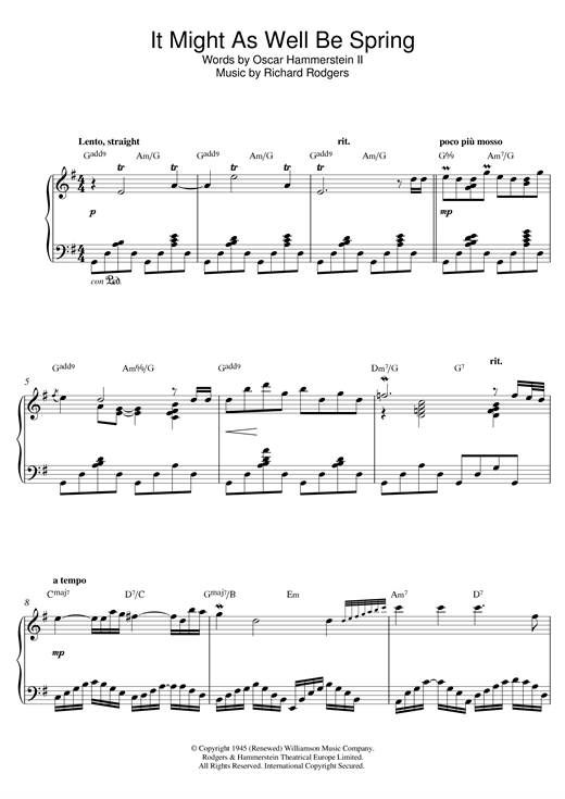 Download George Shearing 'It Might As Well Be Spring (from 'State Fair')' Digital Sheet Music Notes & Chords and start playing in minutes