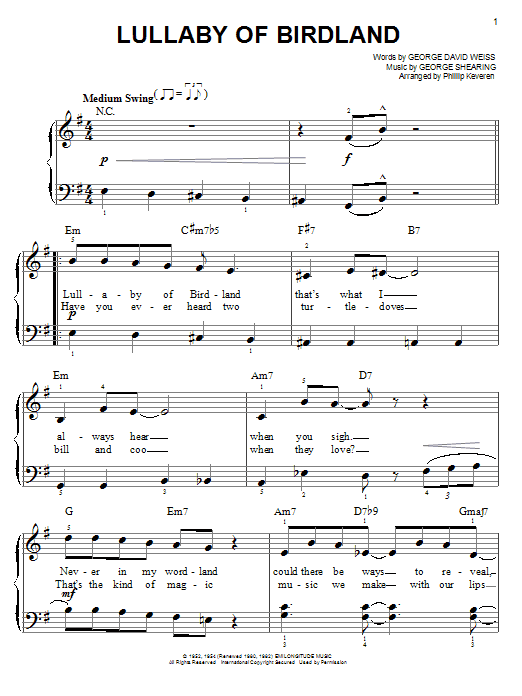 Download George Shearing 'Lullaby Of Birdland' Digital Sheet Music Notes & Chords and start playing in minutes