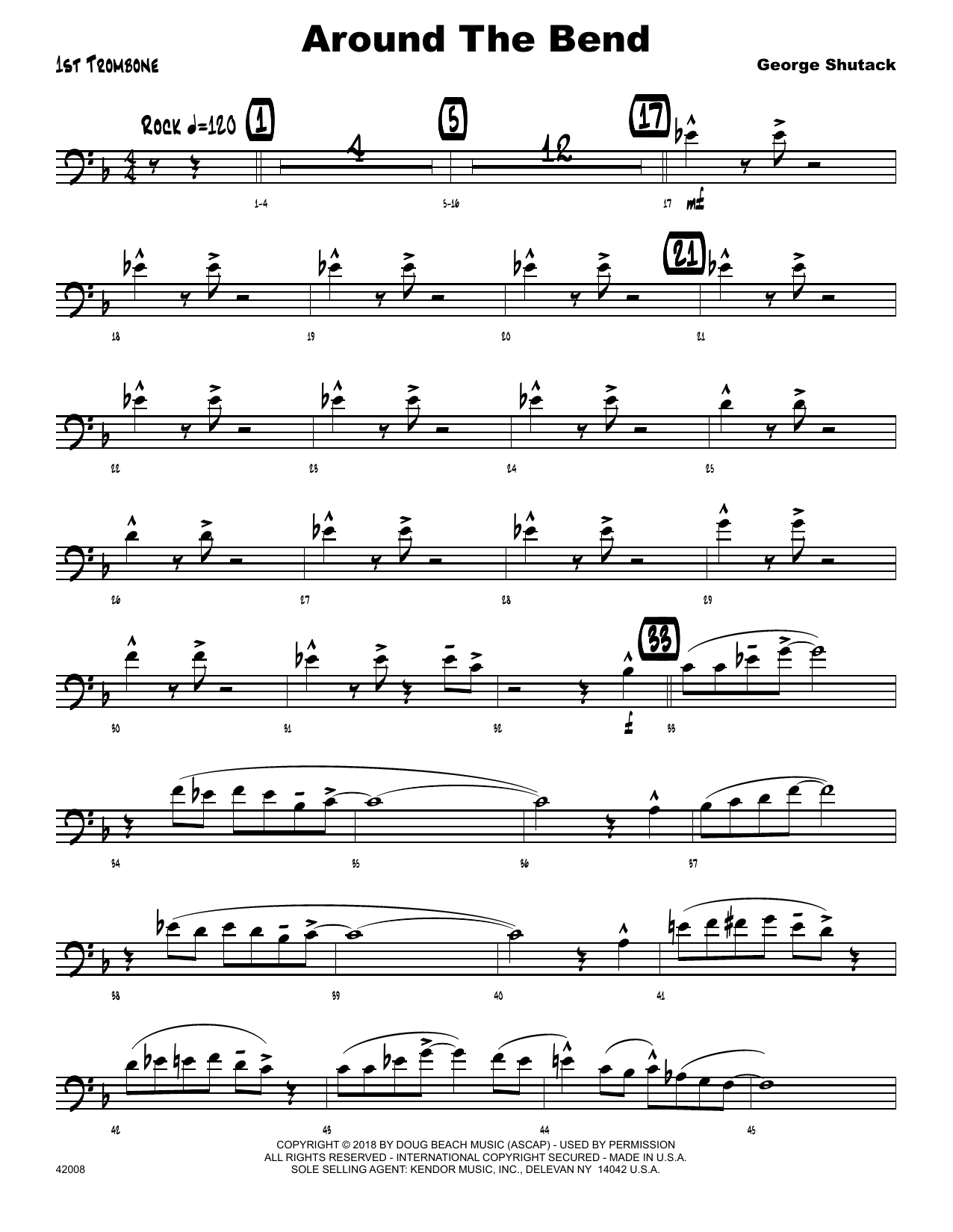 George Shutack Around The Bend - 1st Trombone sheet music preview music notes and score for Jazz Ensemble including 2 page(s)