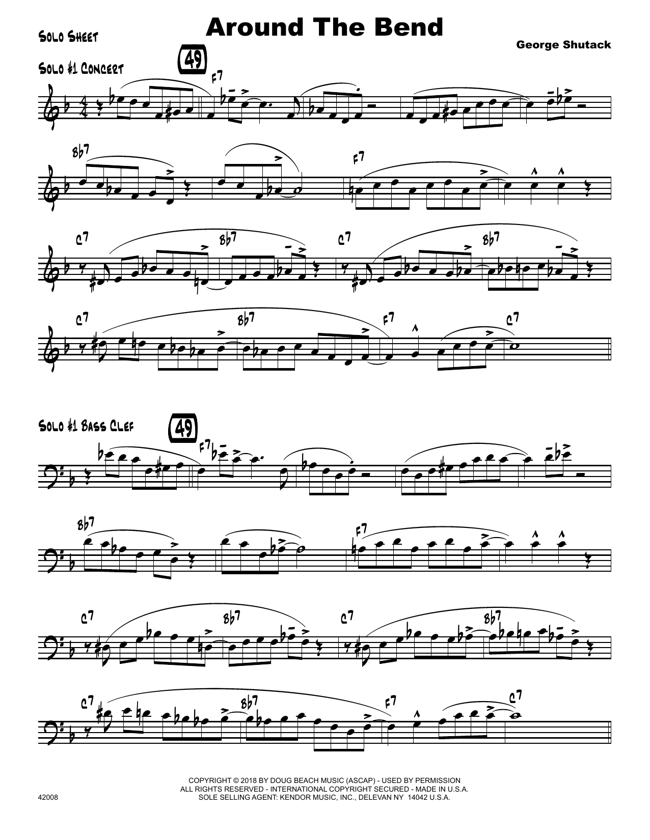 George Shutack Around The Bend - Solo Sheet sheet music preview music notes and score for Jazz Ensemble including 4 page(s)