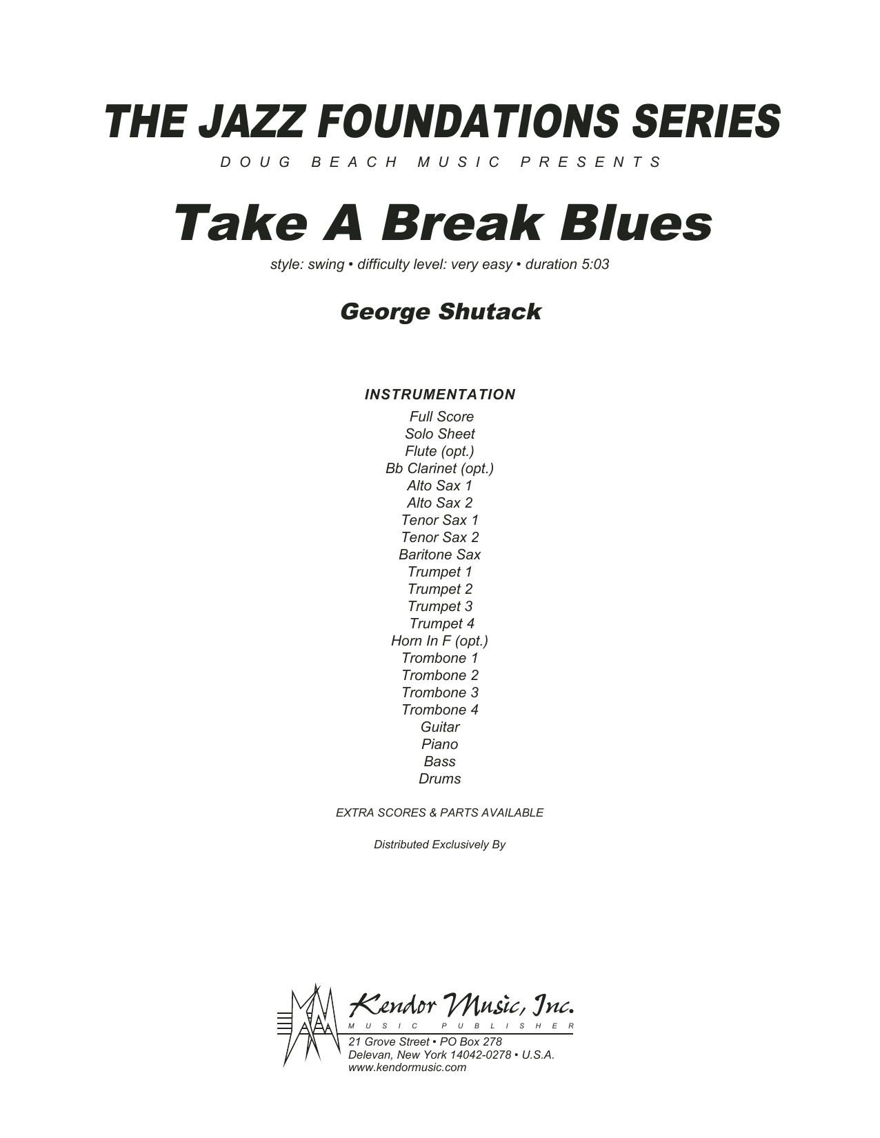 George Shutack Take A Break Blues - Full Score sheet music preview music notes and score for Jazz Ensemble including 7 page(s)