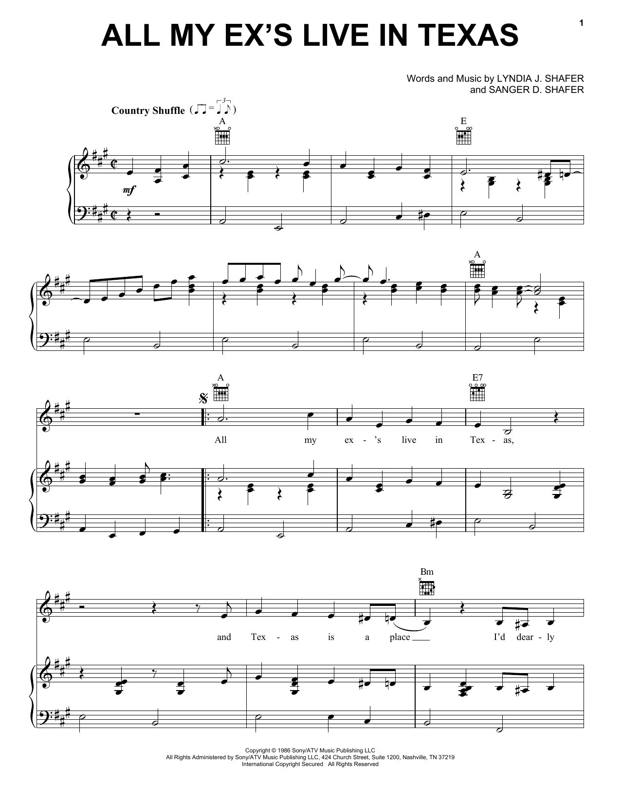 George Strait All My Ex's Live In Texas sheet music preview music notes and score for Easy Guitar including 2 page(s)
