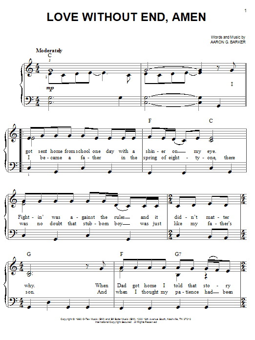 George Strait Love Without End, Amen sheet music notes and chords