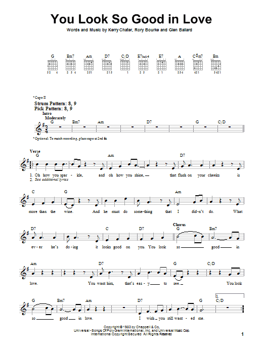 George Strait You Look So Good In Love sheet music preview music notes and score for Easy Guitar including 2 page(s)