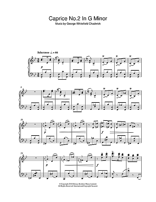 Download George Whitefield Chadwick 'Caprice No.2 In G Minor' Digital Sheet Music Notes & Chords and start playing in minutes