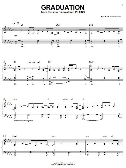 Download George Winston 'Graduation' Digital Sheet Music Notes & Chords and start playing in minutes