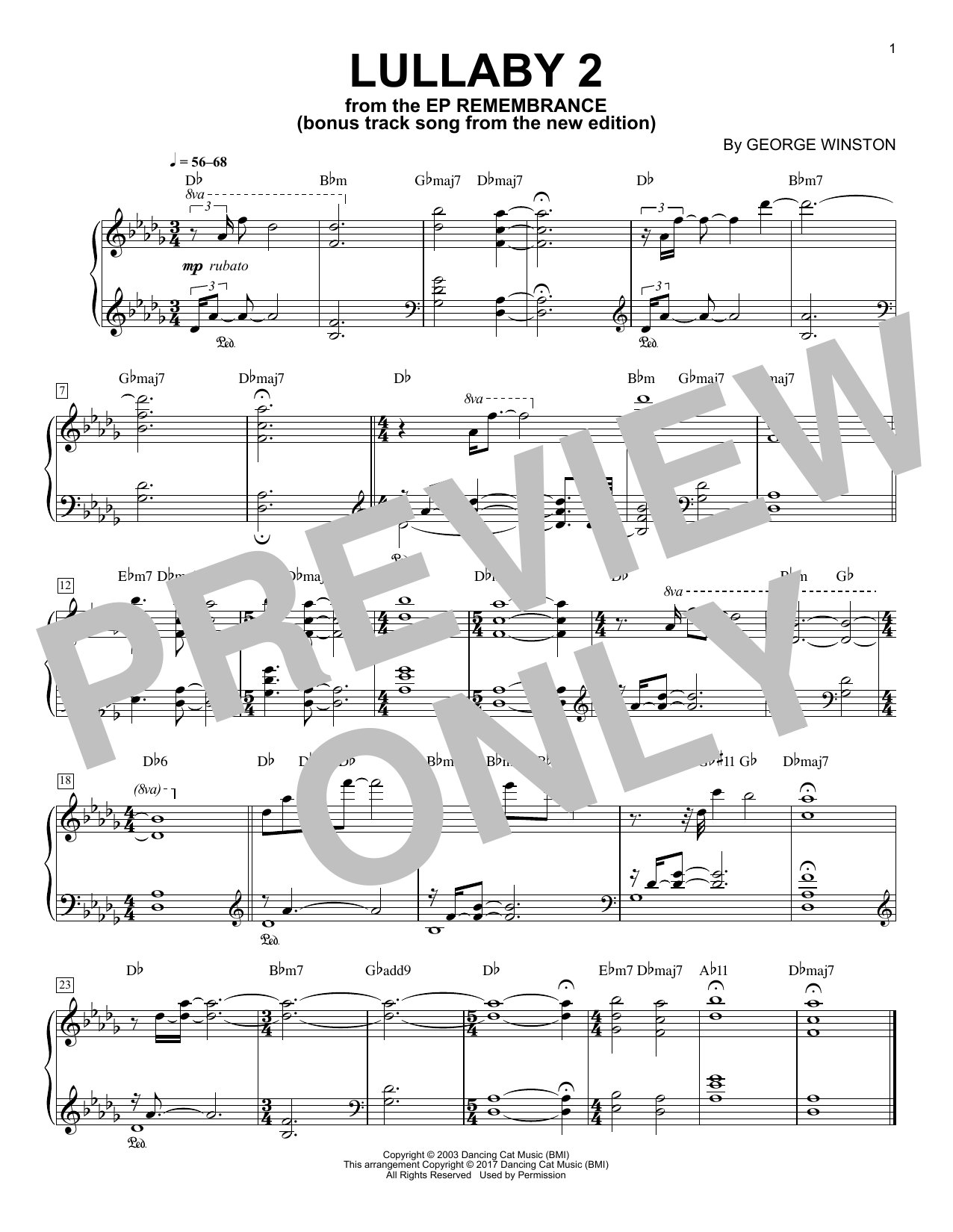 Download George Winston 'Lullaby 2' Digital Sheet Music Notes & Chords and start playing in minutes