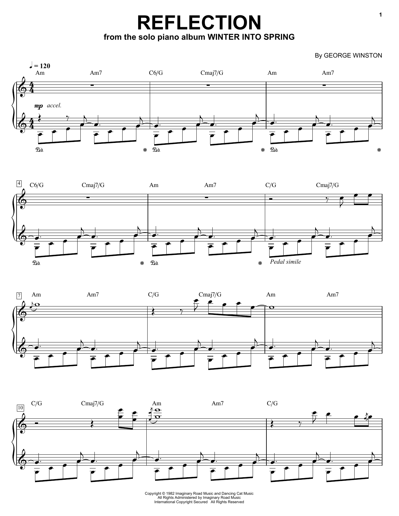 George Winston Reflection sheet music notes and chords